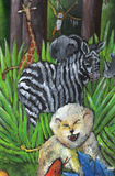 Jungle. Wild animals in the jungle: roaring lion, zebra stripes, monkey jumping Stock Images
