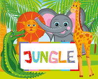 Jungle. Lion, giraffe, elephant and crocodile smiles cheerfully. Pretty wild animals are very happy that they live in the jungle Stock Photography