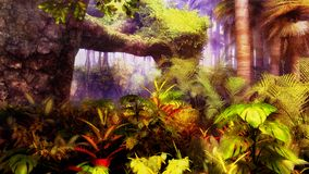Jungle. With palm tress and several other tropical plants Royalty Free Stock Photo