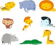 Jungle animal icon set Stock Photos