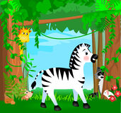 Jungle Animal Scene. Illustration scene with jungle animals, a zebra, giraffe, raccoon, hedgehog, and rabbit among the forest stock illustration