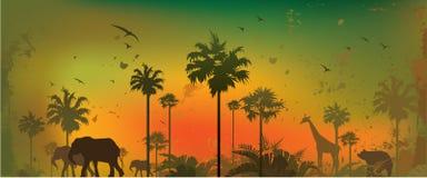 Jungle animals. Vector illustration of silhouettes of animals at jungle Vector Illustration