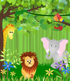 Jungle animals. Illustration of a jungle with lion, elephant,  bird, giraffe, and greenery Royalty Free Stock Images