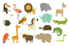 Jungle animals and birds set, flamingo, gazelle, elephant, rhinoceros, ostrich, toucan, lion, turtle, crocodile, giraffe. Jungle animals and birds set, flamingo stock illustration