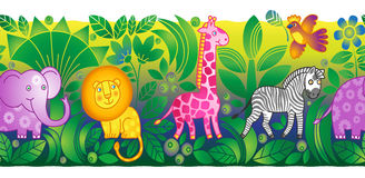 Jungle animals border. It can be used for decorating of  invitations, cards, web pages, decoration for bags and clothes Stock Photos