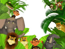 Jungle animals border. 3d illustration isolated on the white Stock Photos