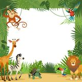 Jungle animals card. Frame animal tropical leaves greeting baby banner zoo border template party children stock illustration