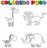 Jungle Animals Coloring Page Stock Images