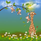Jungle animals in flowers Stock Images