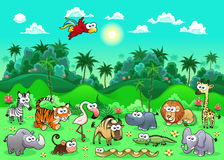 Jungle Animals. Funny cartoon and vector illustration. The sides repeat seamlessly for a possible, continuous animation Stock Images