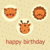 Jungle animals happy birthday card Royalty Free Stock Images