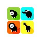 Jungle animals icon set Royalty Free Stock Photo