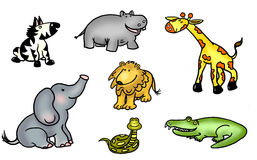 Jungle animals illustration. Sheet of  jungle animals.  Can be cut out and used individually or grouped as desired Royalty Free Stock Photography
