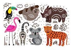 Jungle animals. Hand drawn vector tropical set stock illustration