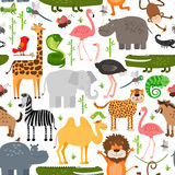 Jungle animals seamless pattern Royalty Free Stock Photo