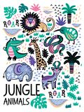 Fashion safari seamless pattern with jungle animals in vector Stock Photos