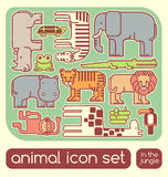 Jungle animals set. Set of cute jungle animals educational Stock Illustration