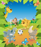 Jungle Animals Soccer Border. Fun Jungle Border with lots of animals enjoying a fun game of football Stock Photography