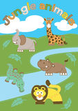 Jungle animals. Vector illustration of cute jungle animals in the wild Royalty Free Stock Photo