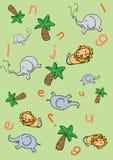 Jungle background. Funny jungle background. Digital illustration Stock Photography