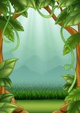 Jungle background with vines and mountains. Illustration of Jungle background with vines and mountains vector illustration