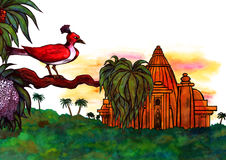 Jungle Bird and Temple (Zen Pictures II, 2012). An abstract illustration of a red exotic bird sitting on a branch with a  mysterious ancient temple in the deep Royalty Free Stock Photography