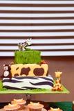Jungle birthday cake Stock Images