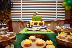 Jungle birthday cake. Pic of a Birthday cake with jungle colors and animals Royalty Free Stock Image