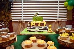 Jungle birthday cake Royalty Free Stock Image