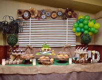 Jungle birthday  table with cake Royalty Free Stock Photography