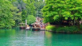 Jungle boat ride at disneyland hong kong Royalty Free Stock Photo