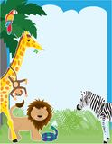 Jungle Border. A jungle border design featuring a parrot, giraffe, momkey, lion, snake and a zebra Stock Photography