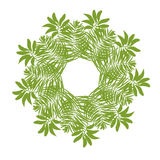 Jungle border frame with tropical green leaves . Greeting card on white background. Cover Stock Photography