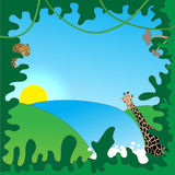 Jungle border. Fun jungle characters border. Animals included- just release clipping mask Stock Images