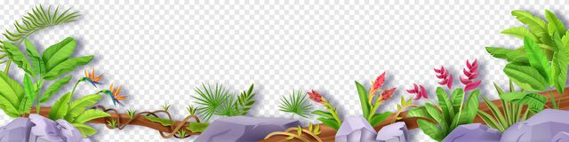 Free Jungle Border Vector Leaf Floral Frame, Tropical Plant Background, Liana, Stone, Banana, Exotic Flowers. Royalty Free Stock Photography - 216023267