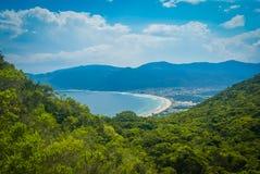 Jungle in Brasil. Scenic view of greenery and coast near sea in distance in Florianopolis in Brasil stock image