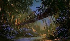Jungle bridge. Landscape digital painting. Jungle bridge Stock Images