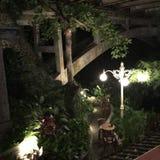 Jungle Bridge Night. Lights Bali Indonesia Ubud Forest stock image