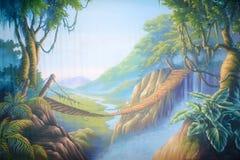 Jungle bridge. Theatre backdrop featuring a swinging bridge in a forsaken jungle royalty free illustration
