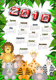 Jungle calendar 2010. Calendar for the year 2010 with the animals of the jungle and leaves frame Royalty Free Stock Images