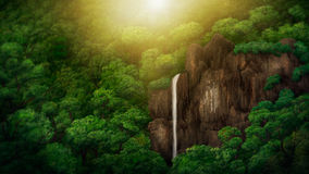 Jungle Canopy Digital Painting. Digital painting of a waterfall within a jungle canopy royalty free illustration