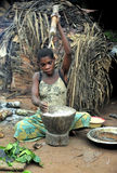 Jungle of CAR. Africa. Jungle of the Central-African Republic. Baka woman cooks food, crushing a flour in a mortar Royalty Free Stock Images