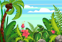 Jungle cartoon. Against the sky with flowers Stock Images