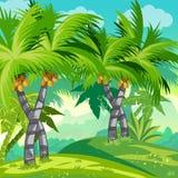 Jungle d'illustration d'enfant avec des arbres de noix de coco Photos libres de droits