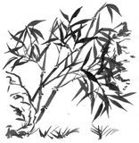 Sumi-e bamboos suibokuga. On white Royalty Free Stock Images