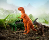 Jungle Dinosaurs Stock Photography