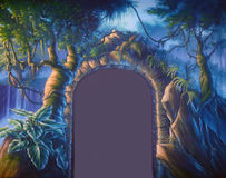 Jungle doorway. Theatre backdrop featuring a doorway set in a jungle cave vector illustration