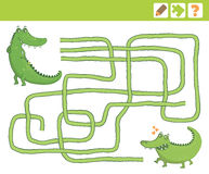 Jungle. Education Counting Game for Children. Crocodiles. Education Maze or Labyrinth Game for Children. Vector Illustration Stock Photo