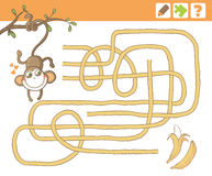 Jungle. Education Counting Game for Children. Monkey and bananas. Education Maze or Labyrinth Game for Children. Vector Illustration Royalty Free Stock Image