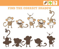 Jungle. Education Counting Game for Children. Monkeys. Education Game for Children. Find the correct shadow. Vector Illustration Royalty Free Stock Photography